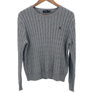 POLO RALPH LAUREN Grey Classic Cable Knit Sweater